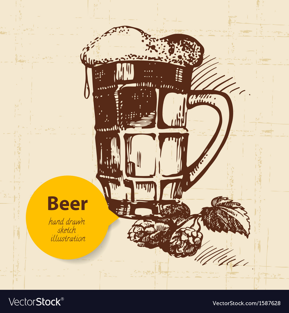 Oktoberfest vintage background hand drawn retro d vector | Price: 1 Credit (USD $1)