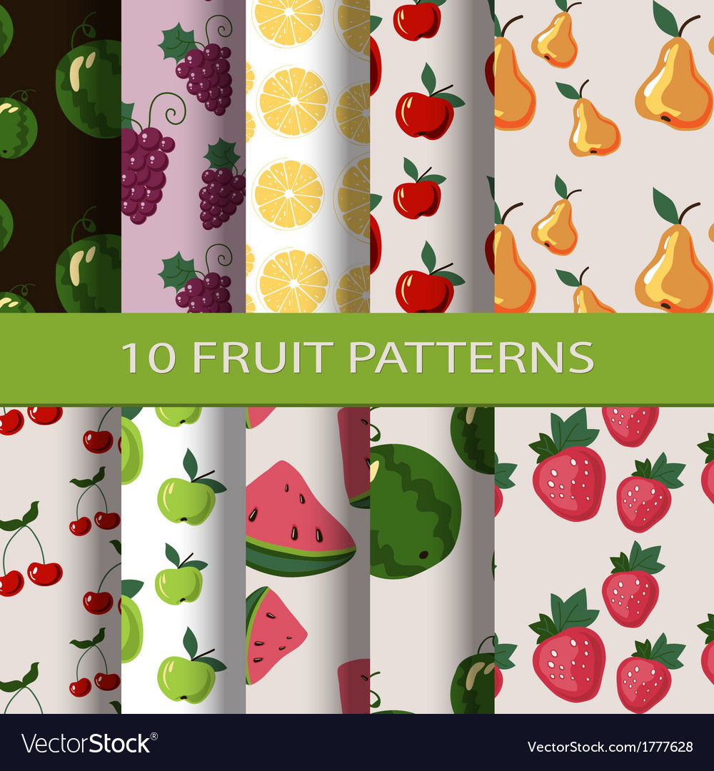 Set of fruit patterns vector | Price: 1 Credit (USD $1)