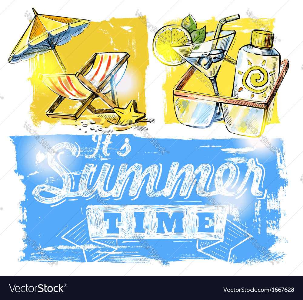 Summer symbols vector | Price: 1 Credit (USD $1)