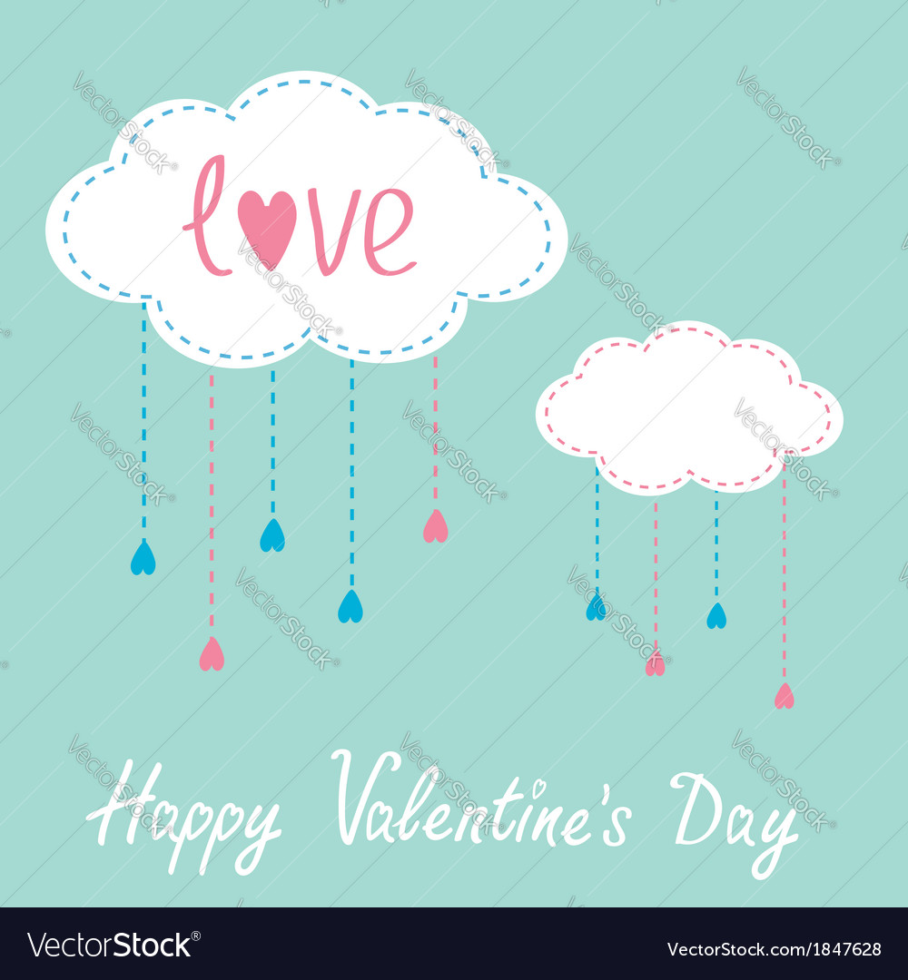 Two clouds with hanging rain drops valentines day vector | Price: 1 Credit (USD $1)