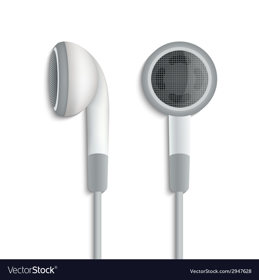 White plug stereo headphones on white background vector | Price: 1 Credit (USD $1)