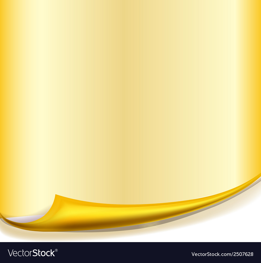 Yellow paper with roll curved corner vector | Price: 1 Credit (USD $1)