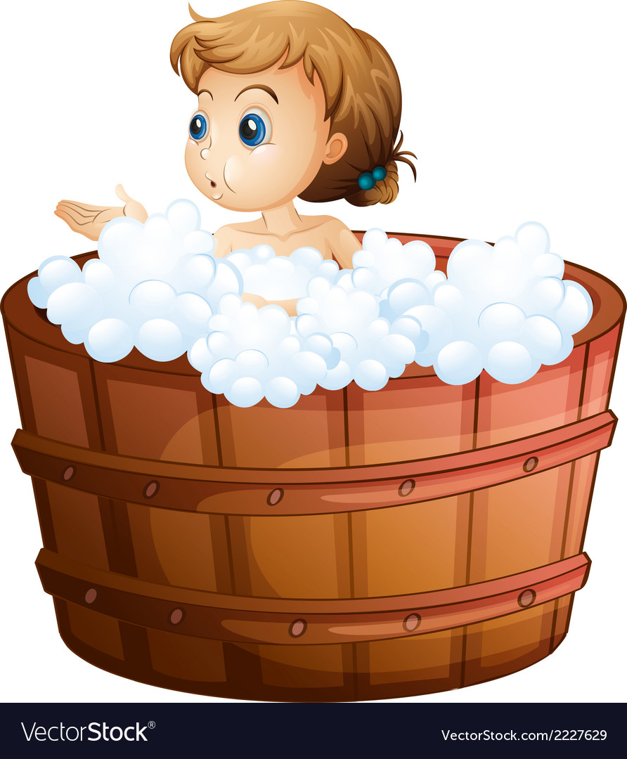 A young girl taking a bath vector | Price: 1 Credit (USD $1)