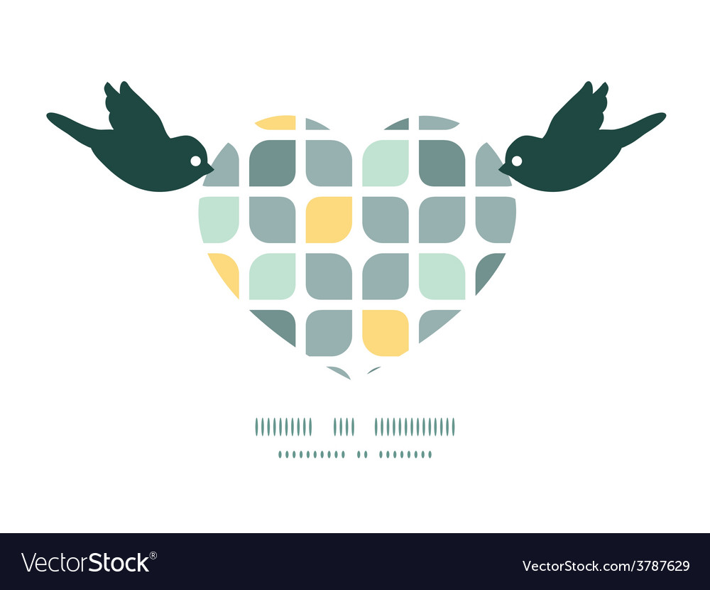Abstract gray yellow rounded squares birds vector