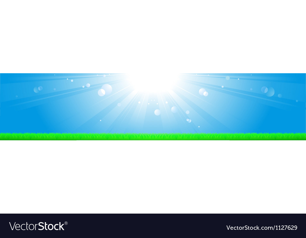 Background with sun blue sky and grass vector | Price: 1 Credit (USD $1)