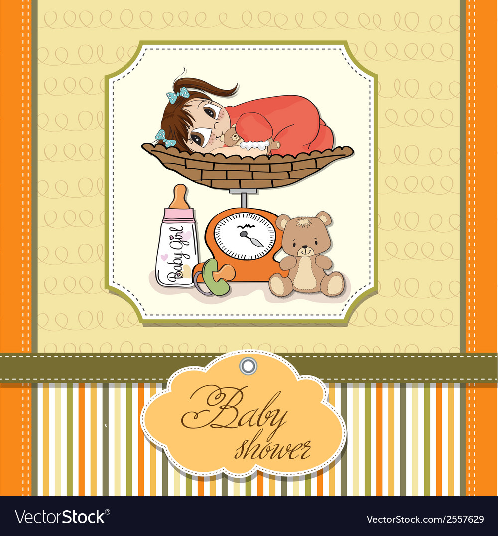 Beautiful baby girl on on weighing scale vector | Price: 1 Credit (USD $1)