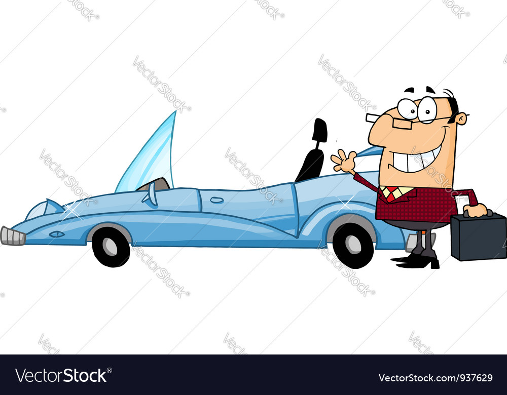 Businessman waving next to convertible car vector | Price: 3 Credit (USD $3)