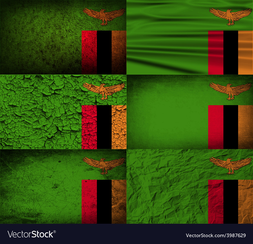 Flag of zambia with old texture vector | Price: 1 Credit (USD $1)