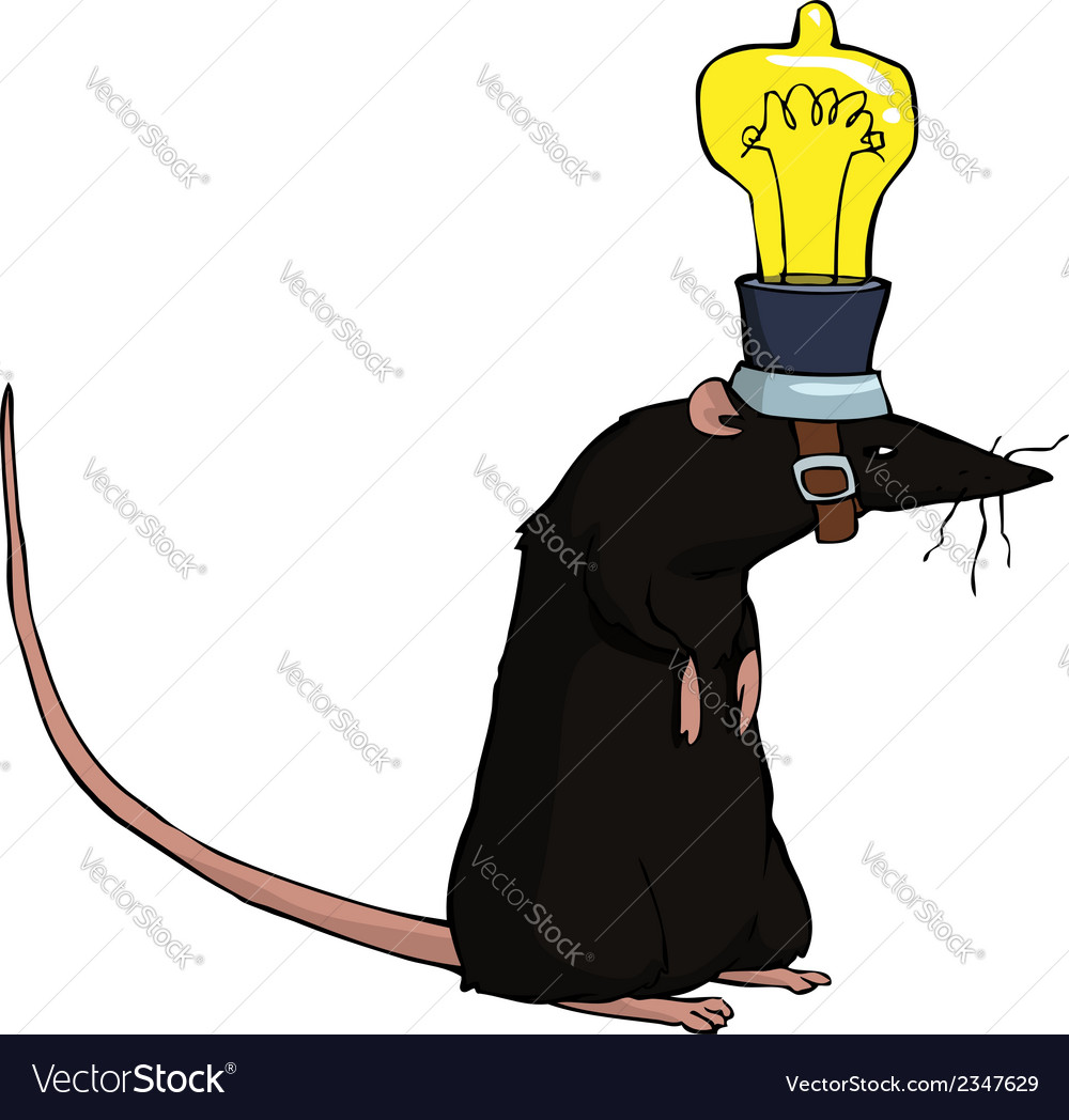 Rat with lamp vector | Price: 1 Credit (USD $1)