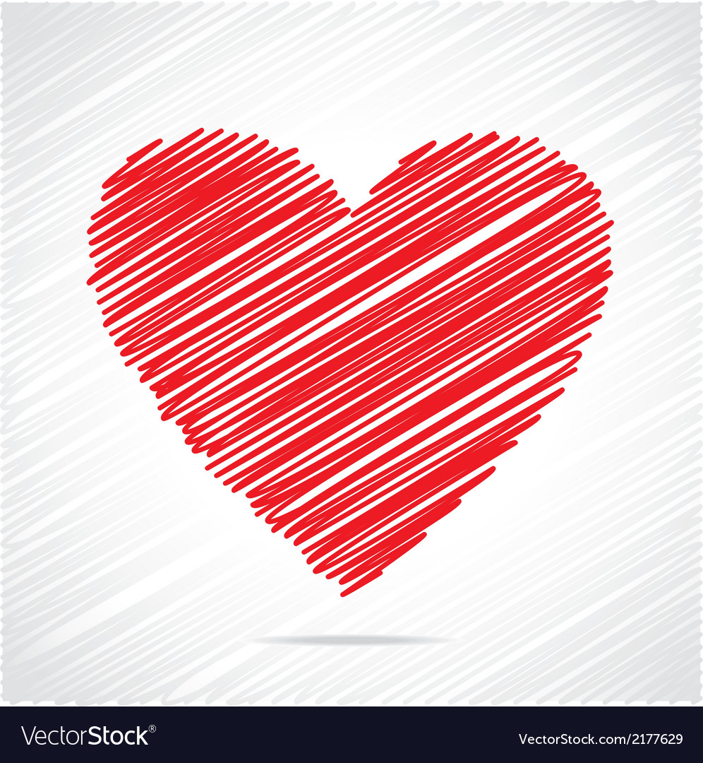 Red sketch heart design vector | Price: 1 Credit (USD $1)