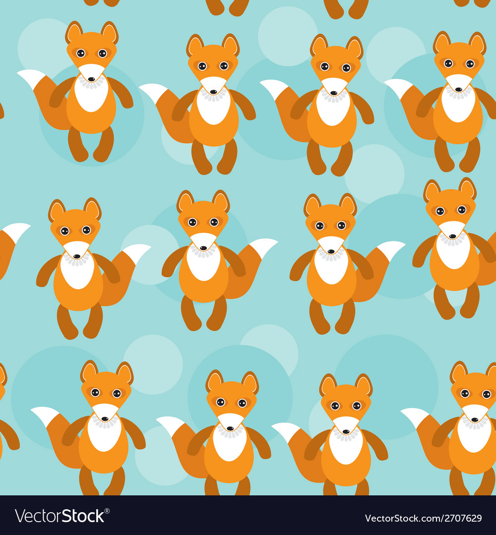 Seamless pattern with funny cute fox animal on a vector | Price: 1 Credit (USD $1)