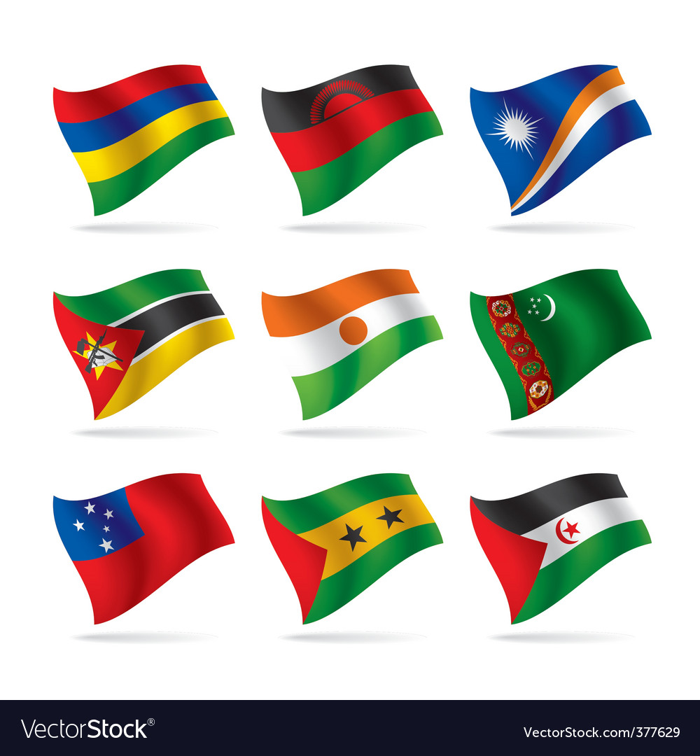 Set of world flags 13 vector | Price: 1 Credit (USD $1)