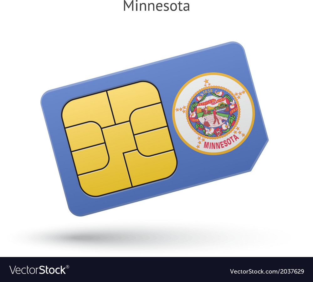State of minnesota phone sim card with flag vector | Price: 1 Credit (USD $1)