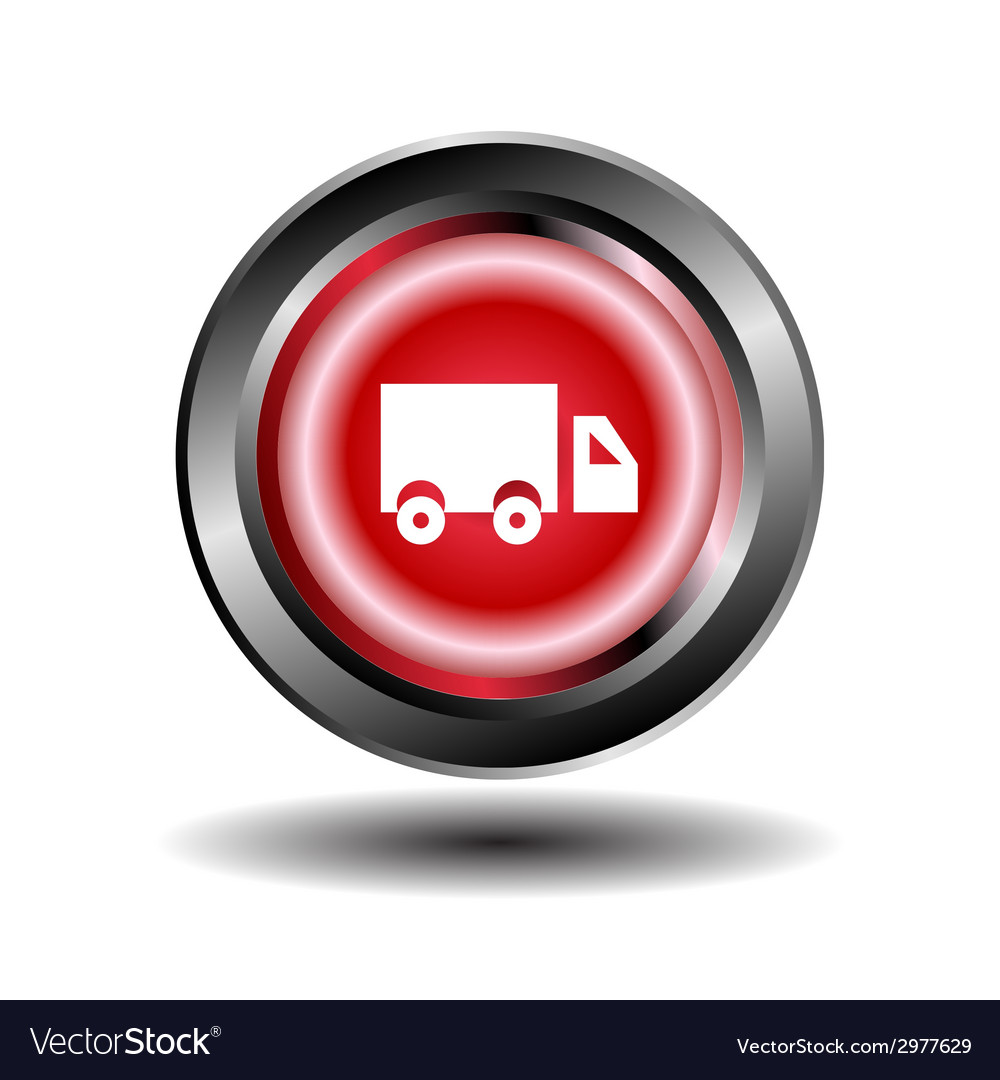 Truck icon red round button vector | Price: 1 Credit (USD $1)