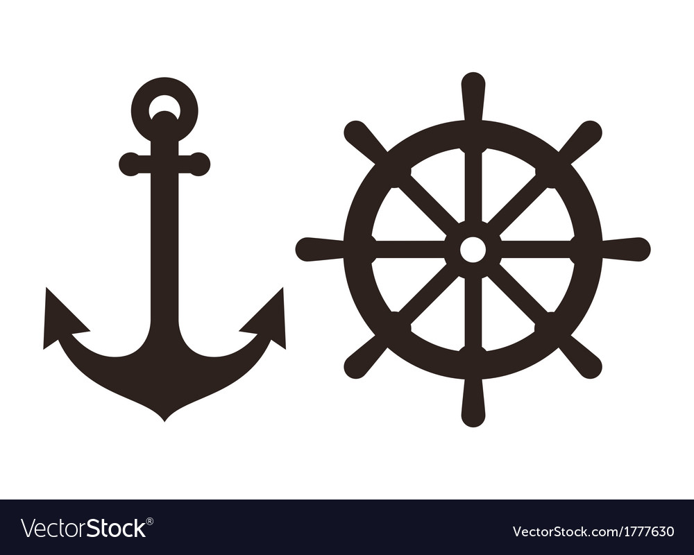 Anchor and rudder sign vector | Price: 1 Credit (USD $1)