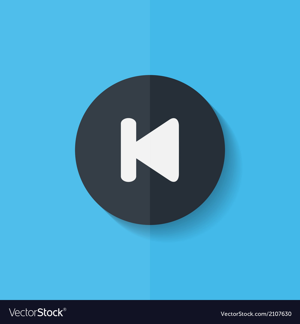 Back track web iconmedia player flat design vector | Price: 1 Credit (USD $1)