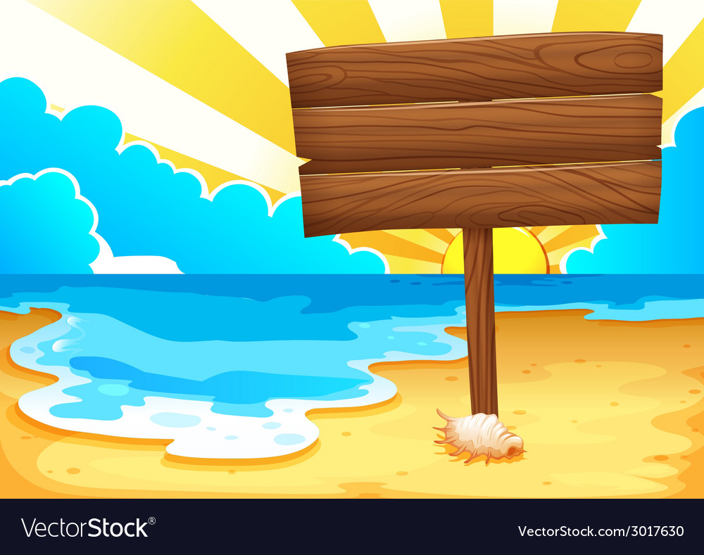 Beach and sign vector | Price: 1 Credit (USD $1)