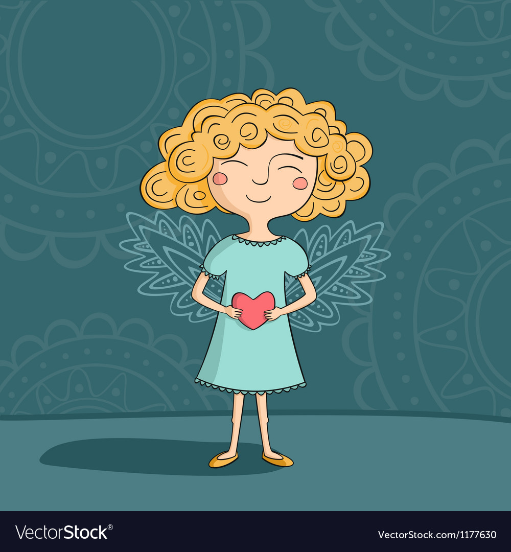 Blonde girl angel vector | Price: 3 Credit (USD $3)