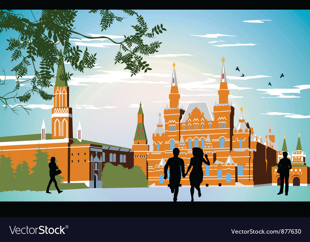 Boy and girl running in the red square hand in vector | Price: 3 Credit (USD $3)