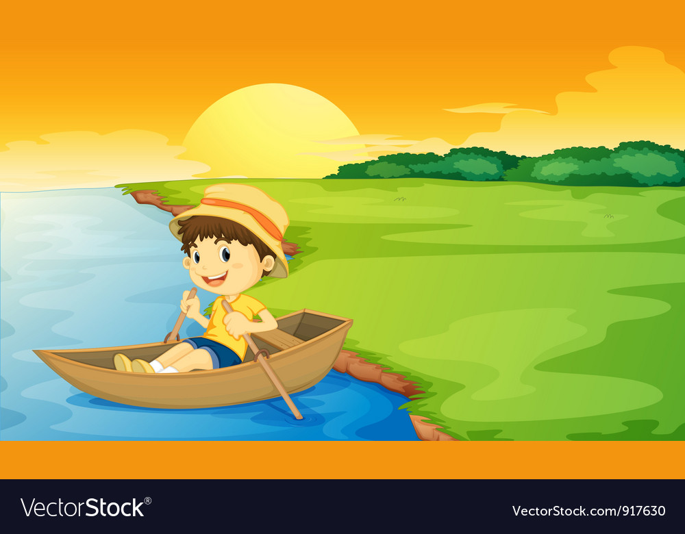 Boy in a boat vector | Price: 3 Credit (USD $3)