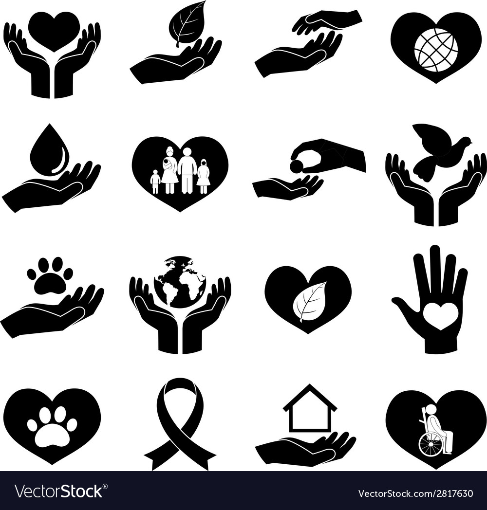 Charity and donation icons black vector | Price: 1 Credit (USD $1)