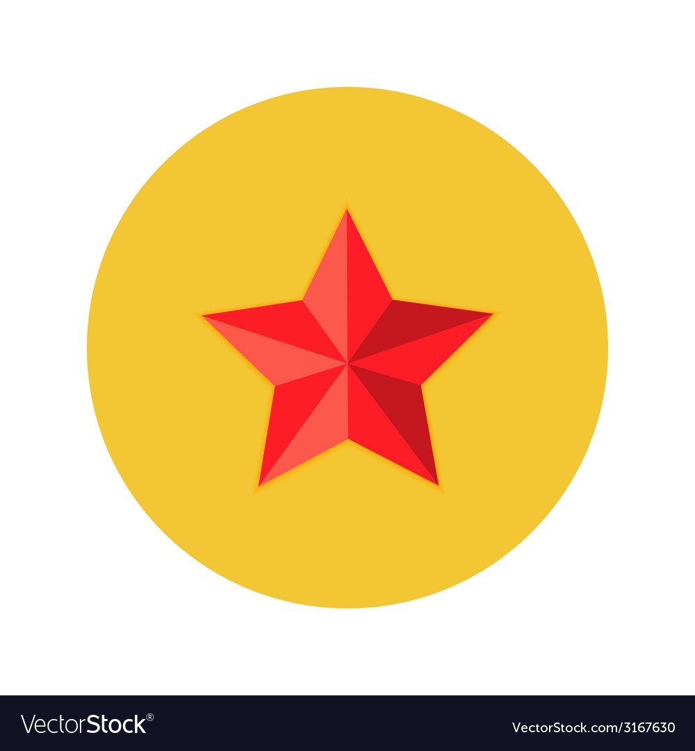 Christmas red star flat circle icon vector | Price: 1 Credit (USD $1)