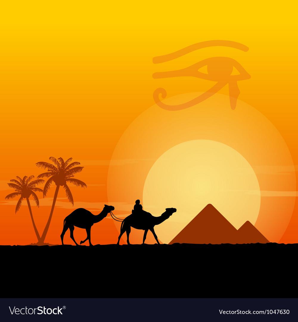 Egypt symbols and pyramids vector