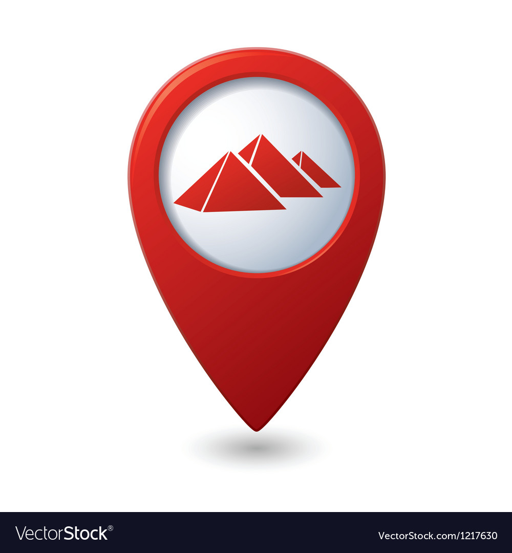 Map pointer with pyramids icon vector | Price: 1 Credit (USD $1)