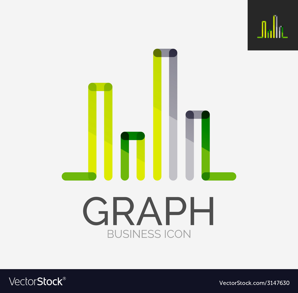 Minimal line design logo chart graph icon vector | Price: 1 Credit (USD $1)