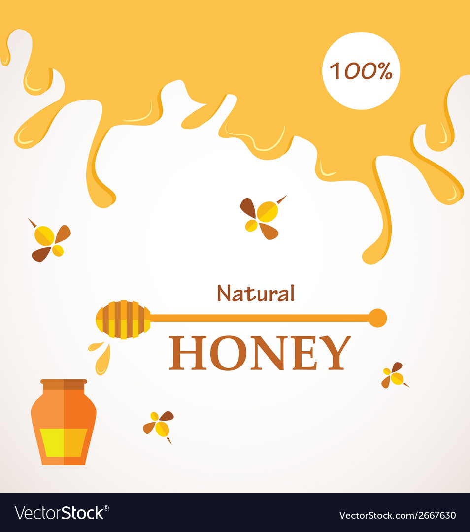 Natural honey honey streams jar and bees isolated vector | Price: 1 Credit (USD $1)