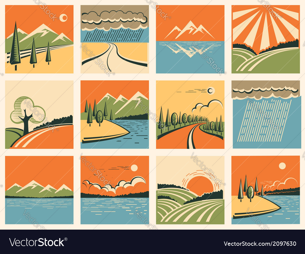 Nature landscape icons set of symbols vector | Price: 1 Credit (USD $1)