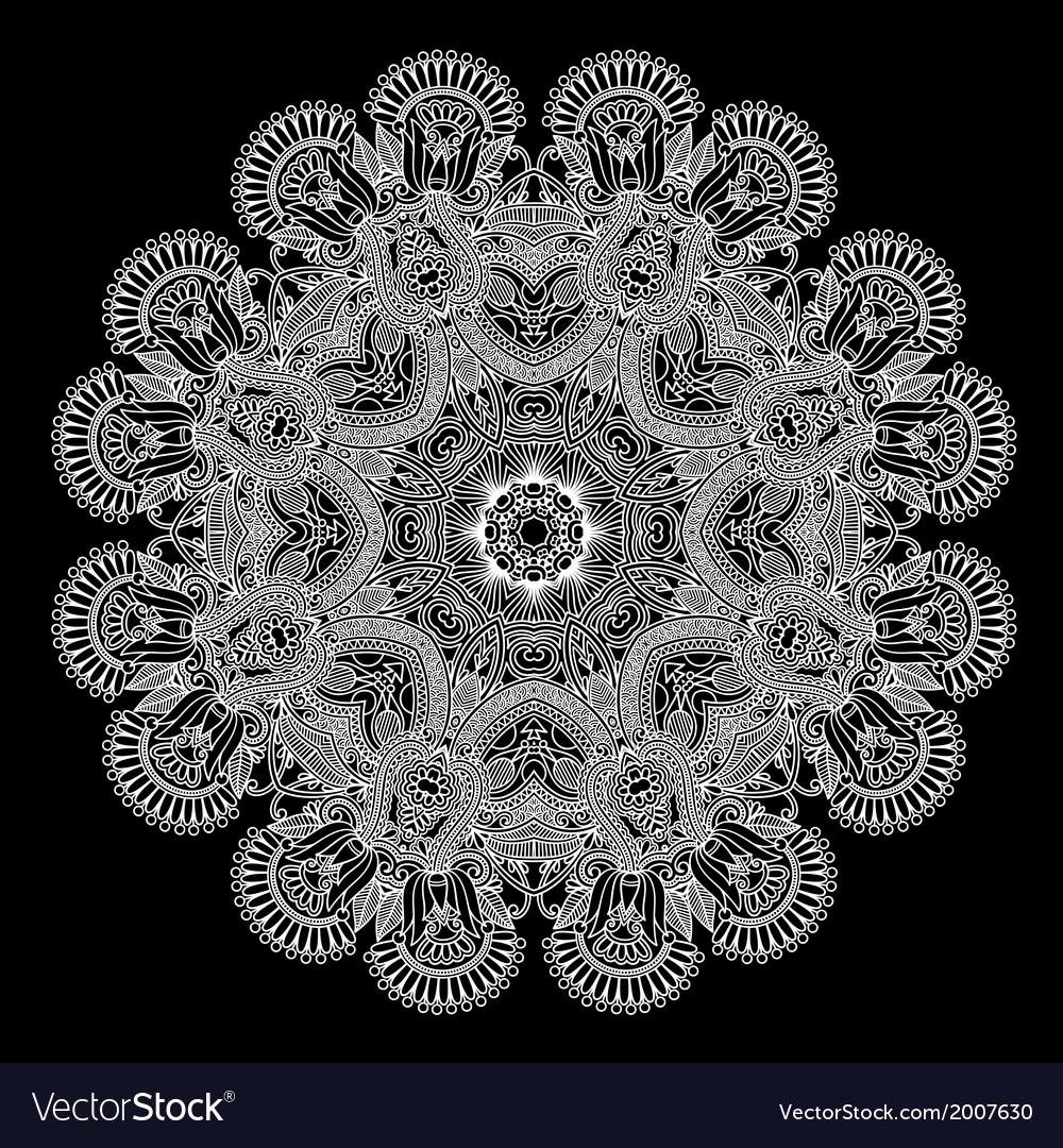 Ornate circle ornament ornamental round lace vector | Price: 1 Credit (USD $1)