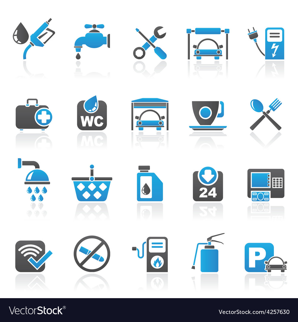 Petrol station icons vector | Price: 1 Credit (USD $1)