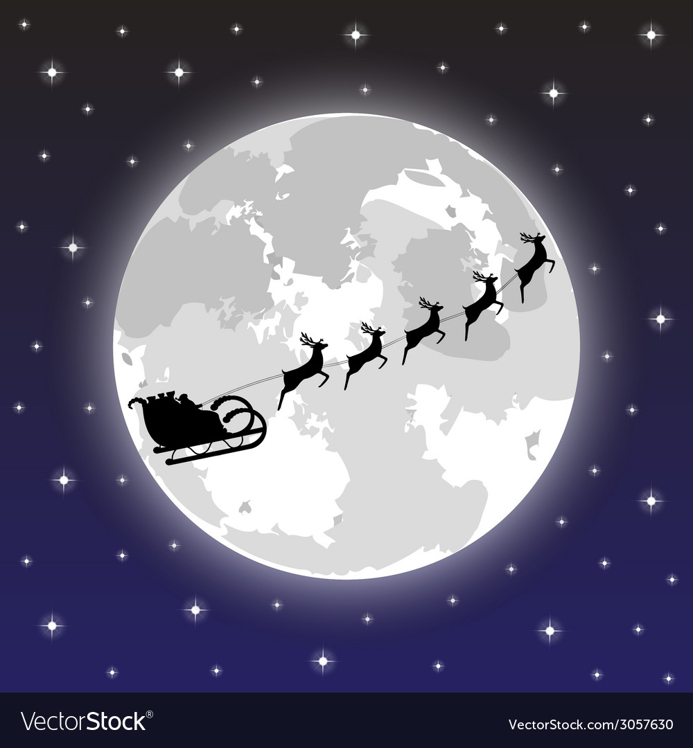 Santa claus rides on deer at night vector | Price: 1 Credit (USD $1)