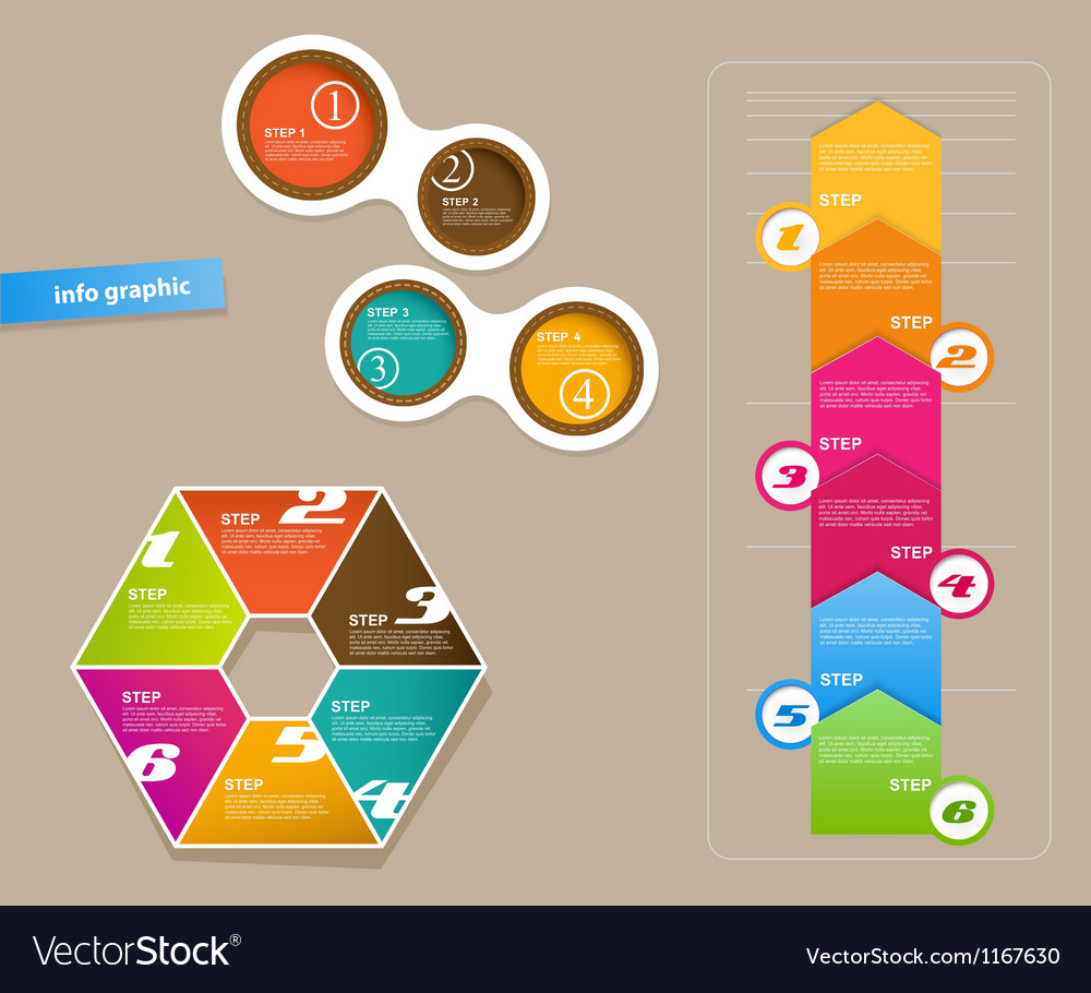 Set of infographic objects with numbers vector | Price: 1 Credit (USD $1)