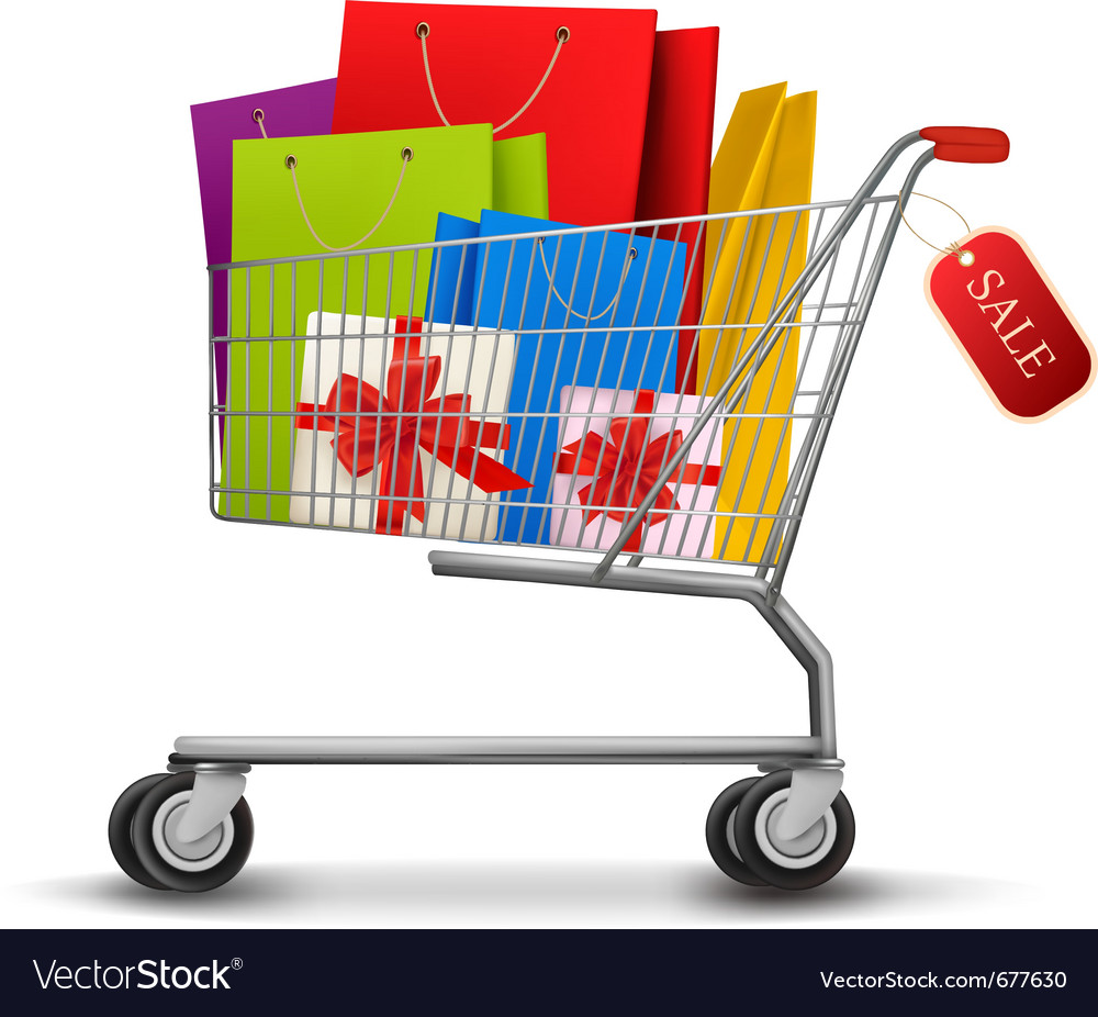 Shopping cart gift boxes vector | Price: 3 Credit (USD $3)