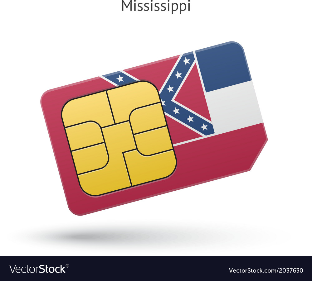 State of mississippi phone sim card with flag vector | Price: 1 Credit (USD $1)