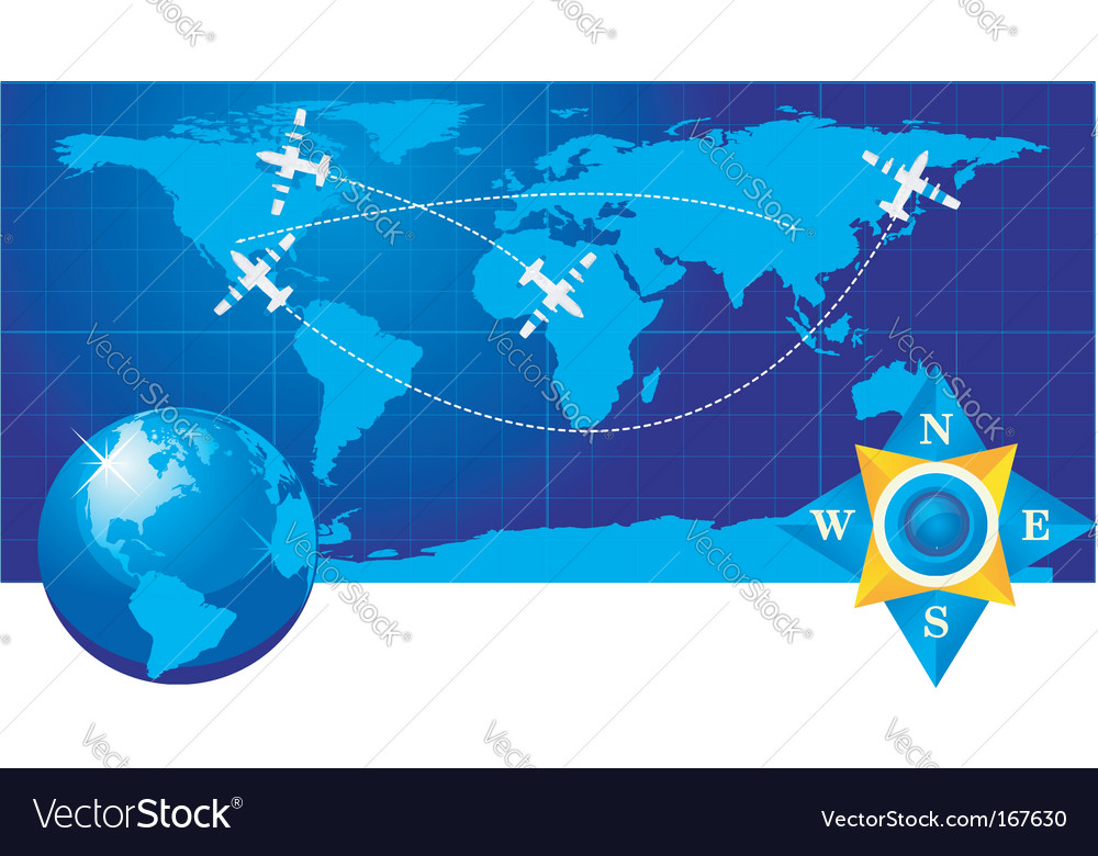 Travel illustration plane on map vector | Price: 1 Credit (USD $1)