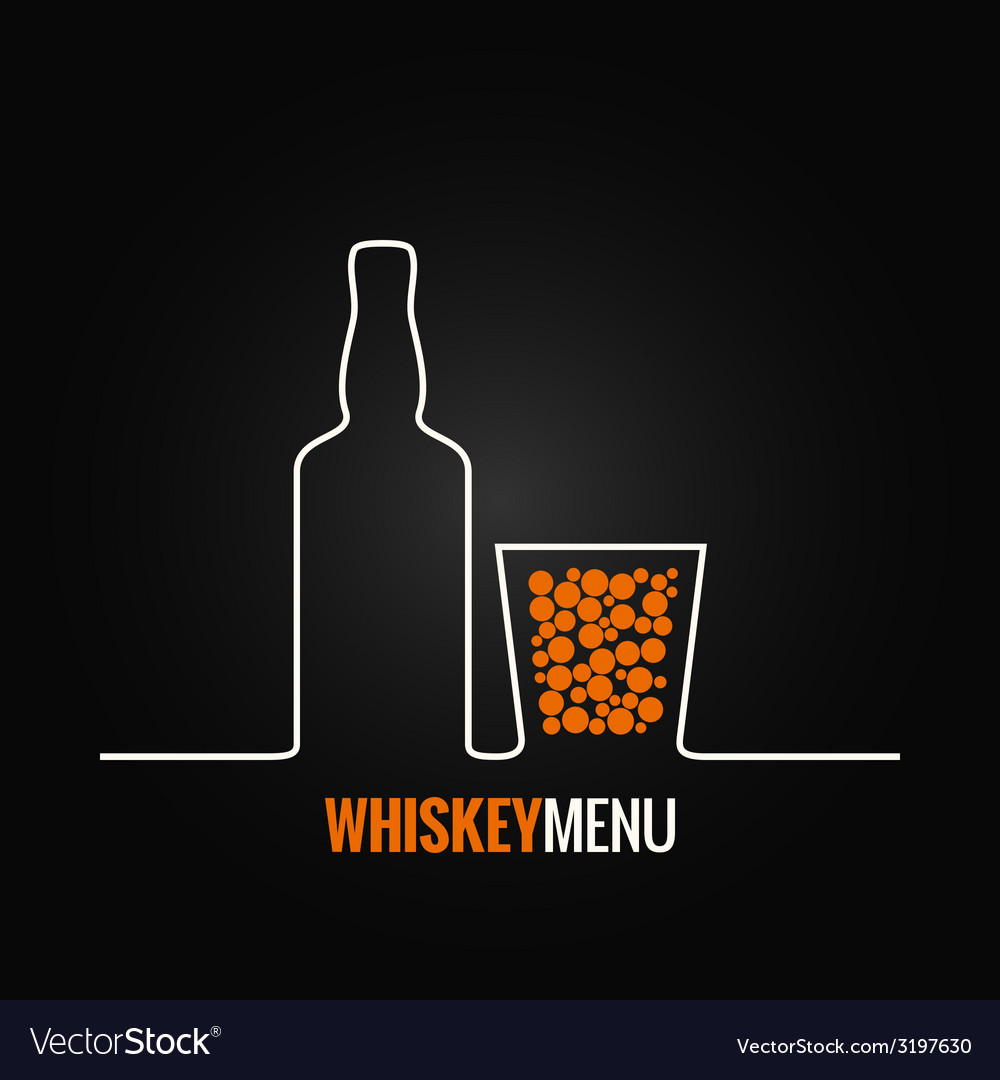 Whiskey glass bottle menu background vector | Price: 1 Credit (USD $1)