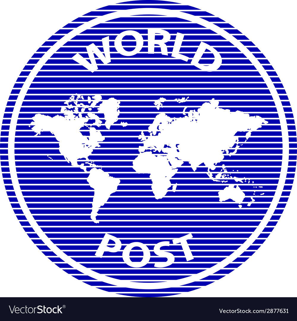 Abstract world post rubber stamp vector | Price: 1 Credit (USD $1)