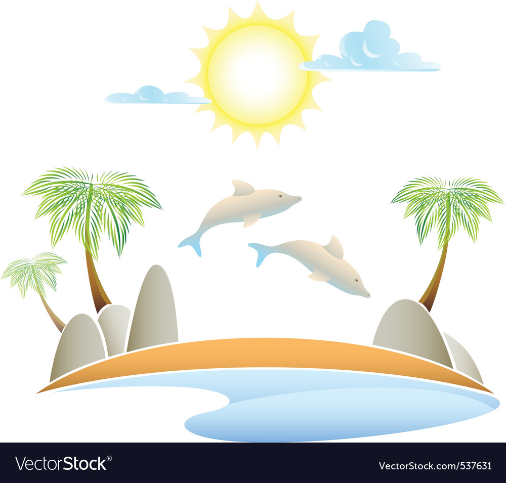 Al island summer landscape vector illustrati vector | Price: 1 Credit (USD $1)