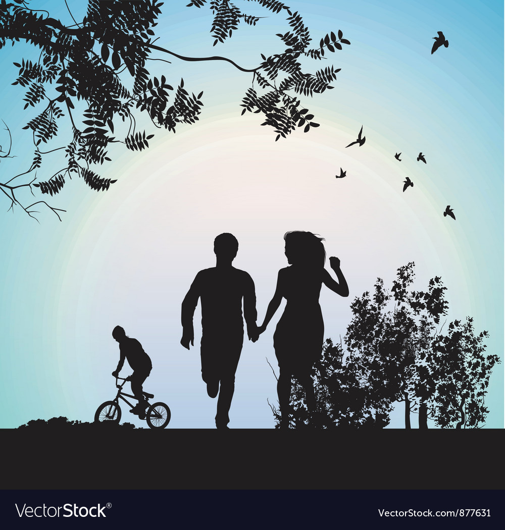 Boy and girl running through the park holding vector | Price: 3 Credit (USD $3)