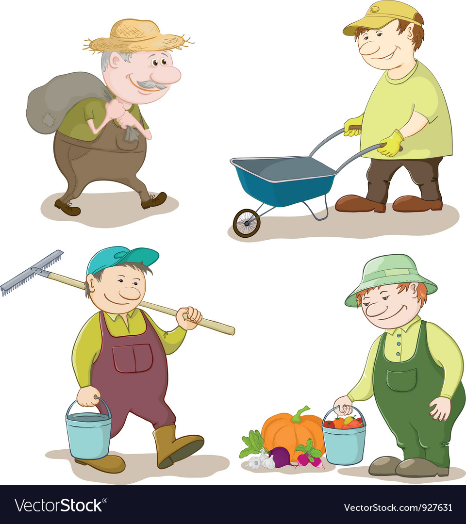 Cartoon gardeners work vector | Price: 3 Credit (USD $3)