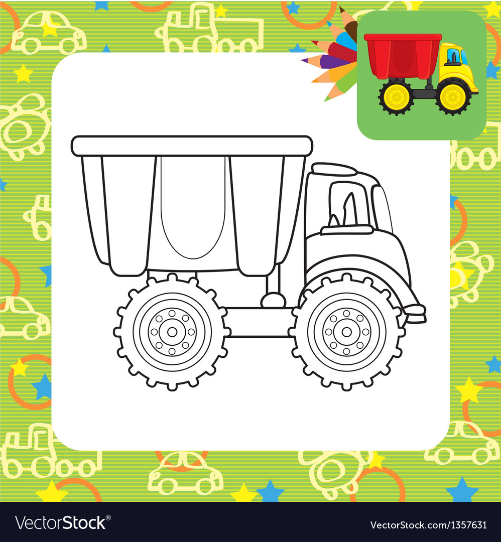 Colorful dump truck toy for coloring vector | Price: 1 Credit (USD $1)