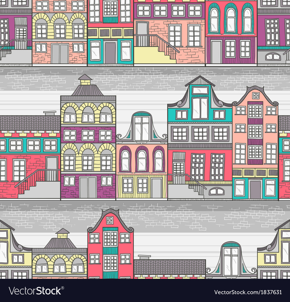 Cute amsterdam houses seamless pattern vector | Price: 1 Credit (USD $1)