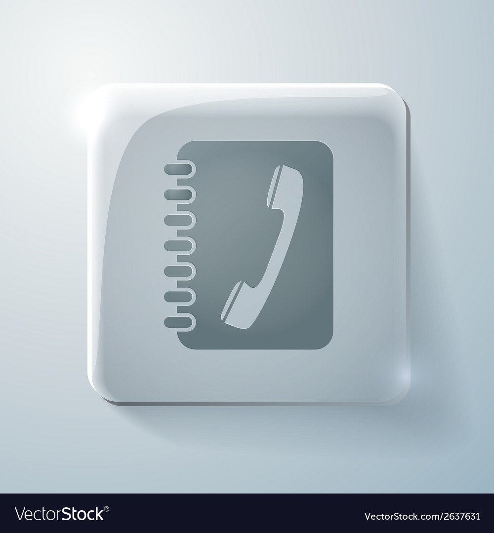 Glass square icon phone address book vector   Price: 1 Credit (USD $1)