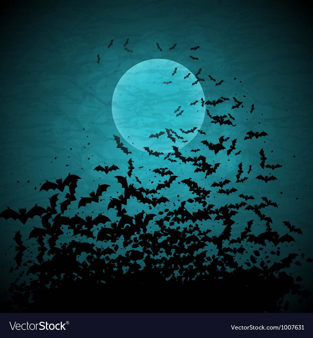 Halloween background with moon and bats vector | Price: 1 Credit (USD $1)