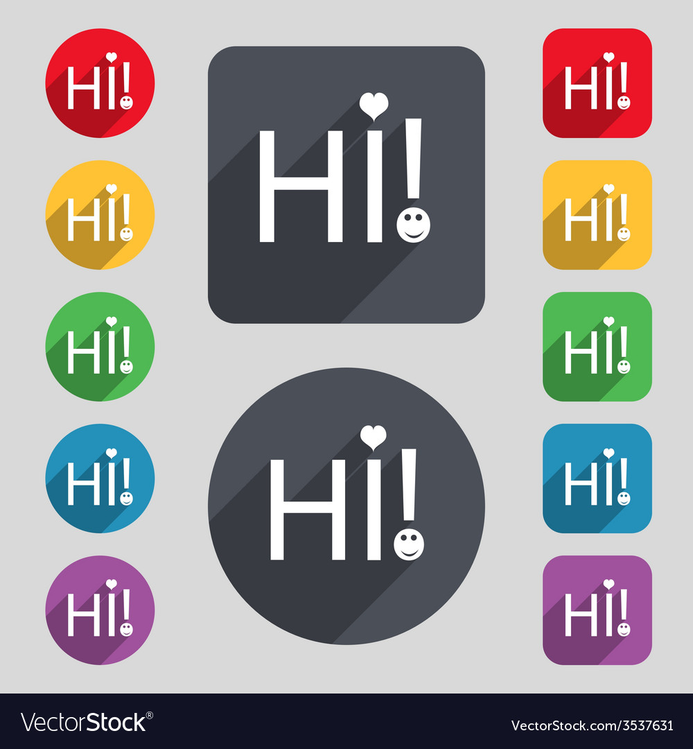 Hi sign icon india translation symbol set of vector | Price: 1 Credit (USD $1)