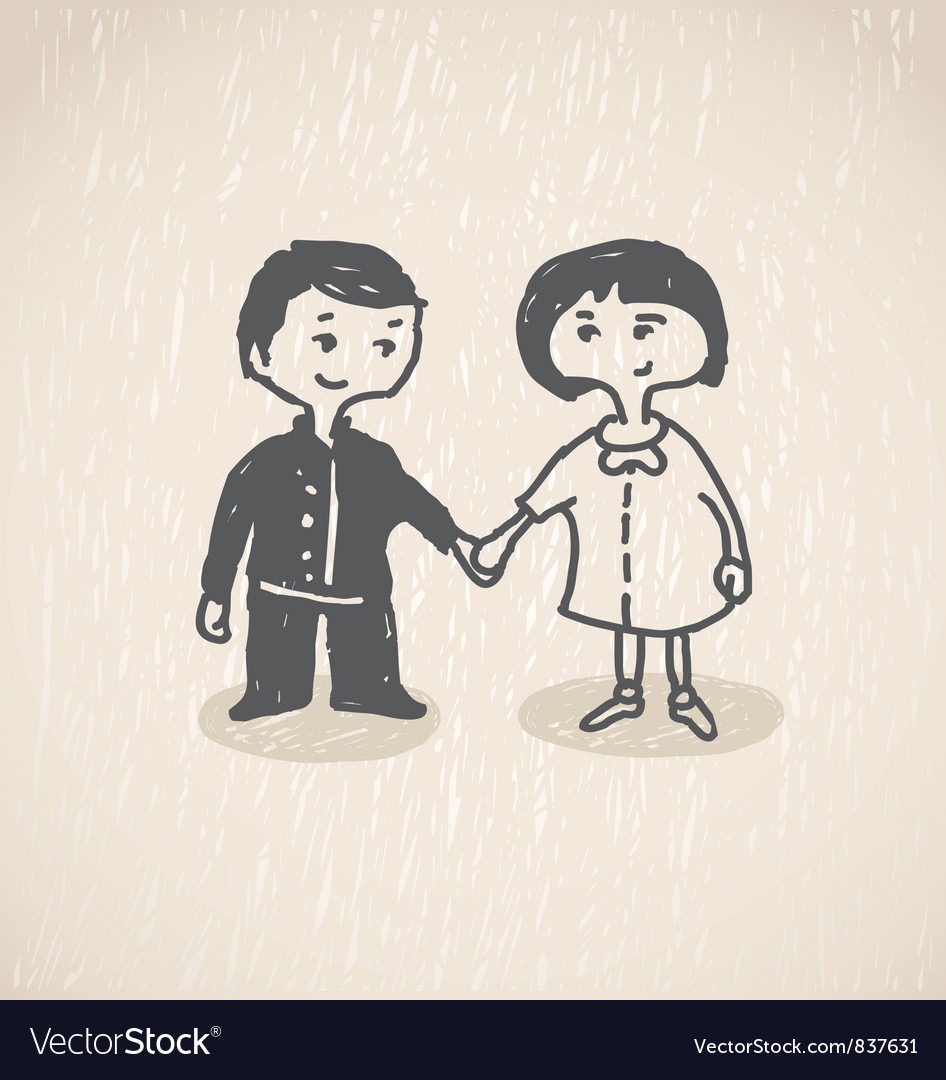In loveboy and girl holding hands vector | Price: 1 Credit (USD $1)