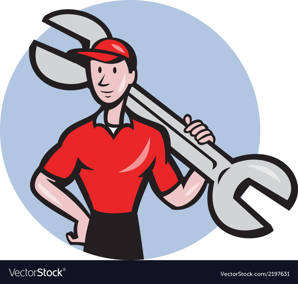 Mechanic hold spanner on shoulder circle cartoon vector | Price: 1 Credit (USD $1)